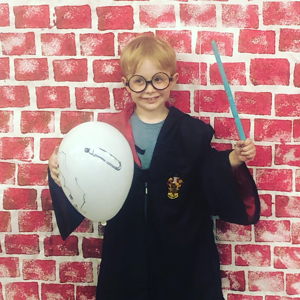 My 4 year old son dressed up as Harry Potter.