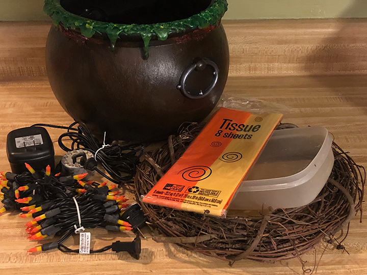 Supplies needed to make easy fake fire