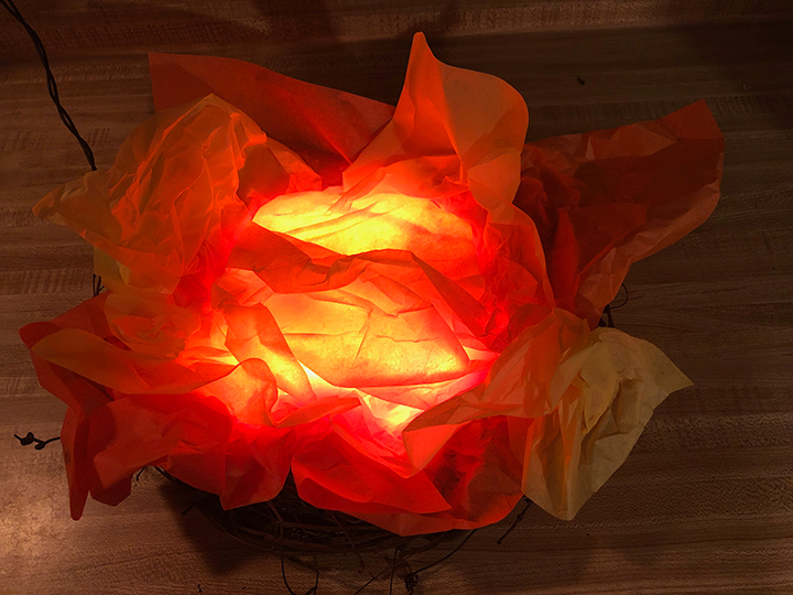 Make easy fake fire with tissue paper